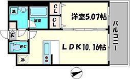 Osaka Metro長堀鶴見緑地線 蒲生四丁目駅 徒歩3分の賃貸マンション 9階1LDKの間取り