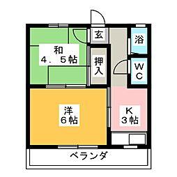 コーポ鈴木(押木田)[3階]の間取り