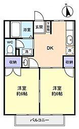 千葉県千葉市花見川区作新台3丁目の賃貸アパートの間取り