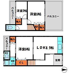 寺内町2丁目貸家 1階3LDKの間取り