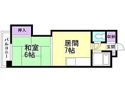 オルゴグラート札幌 5階1DKの間取り