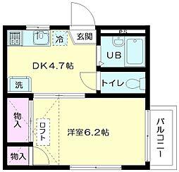 東京都世田谷区世田谷3丁目の賃貸アパートの間取り