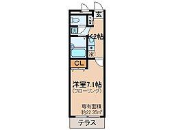 京都府京都市山科区西野離宮町の賃貸アパートの間取り