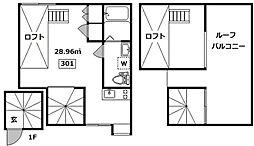 京王線 初台駅 徒歩3分の賃貸アパート 3階ワンルームの間取り