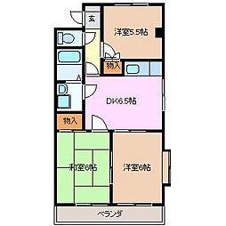 三重県四日市市日永2の賃貸マンションの間取り