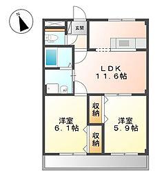愛知県安城市東新町の賃貸アパートの間取り