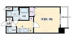 プレサンス京都洛南 5階1Kの間取り
