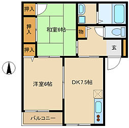 兵庫県尼崎市西昆陽3丁目の賃貸アパートの間取り
