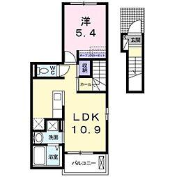 JR鹿児島本線 門司港駅 徒歩16分の賃貸アパート 2階1LDKの間取り