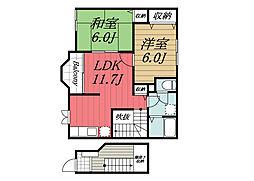 千葉県印西市木下東1丁目の賃貸アパートの間取り