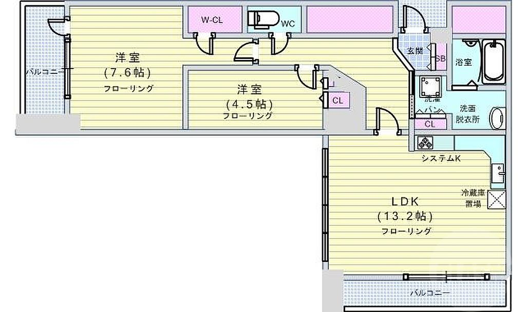 間取り(タワーマンション低層階。贅沢空間。なんばパークス直結。)