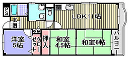 フローラル岸和田[206号室]の間取り