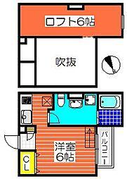 大阪府堺市堺区香ヶ丘町4丁の賃貸アパートの間取り