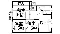 東香里コーポ[0303号室]の間取り