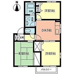 神奈川県高座郡寒川町宮山の賃貸アパートの間取り