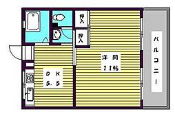 まるきコーポ[1階]の間取り
