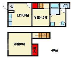 福岡県春日市上白水8丁目の賃貸アパートの間取り