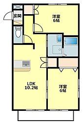 サニーコートOOKAWARA B[1階]の間取り