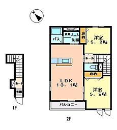 グランディールL[2階]の間取り