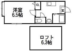 北海道札幌市西区発寒二条5丁目の賃貸アパートの間取り
