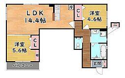 阪急神戸本線 六甲駅 徒歩5分の賃貸アパート 1階2LDKの間取り