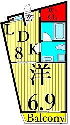 ヴェスパーマティーニ亀有 1階1LDKの間取り