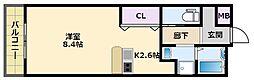 阪神本線 鳴尾・武庫川女子大前駅 徒歩16分の賃貸マンション 2階ワンルームの間取り