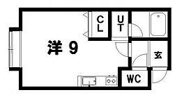 春のワンコインCP対象キラメックあいの里 2階ワンルームの間取り