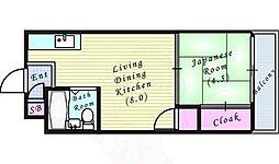 シャトー東梅田 5階1LDKの間取り