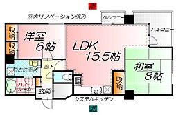 広島県広島市中区八丁堀の賃貸マンションの間取り