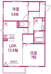 神奈川県川崎市麻生区王禅寺の賃貸アパートの間取り