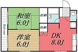 千葉県佐倉市井野の賃貸アパートの間取り