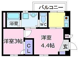 南海高野線 初芝駅 徒歩5分の賃貸マンション 2階2Kの間取り