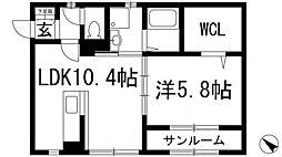 兵庫県川西市山下町の賃貸アパートの間取り