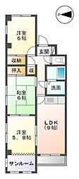 パピヨンヨコイII[3階]の間取り