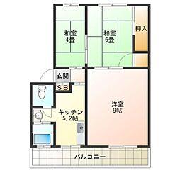 南田辺コーポ[4階]の間取り