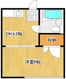 西住之江ハイツ[3階]の間取り