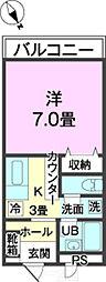 バス 第1南上原下車 徒歩1分の賃貸アパート 2階1Kの間取り