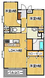 ベルックスB[3階]の間取り