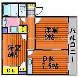 岡山県岡山市北区北長瀬本町の賃貸マンションの間取り