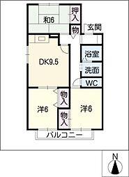 エスポワールハイムA[2階]の間取り