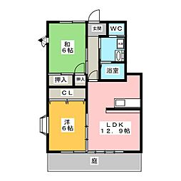 ハイステージ平澤[1階]の間取り