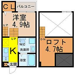 愛知県名古屋市瑞穂区内浜町の賃貸アパートの間取り