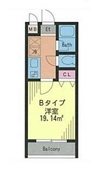 ドルフィン西新宿 2階1Kの間取り