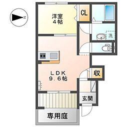 JR可部線 あき亀山駅 徒歩6分の賃貸アパート 1階1LDKの間取り