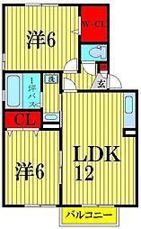 埼玉県吉川市中野の賃貸アパートの間取り