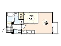 広島電鉄6系統 江波駅 徒歩6分の賃貸マンション 2階1LDKの間取り