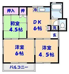 明和コーポC棟(二子町)[302号室]の間取り
