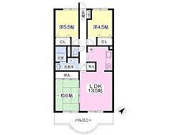 JR総武本線 佐倉駅 徒歩18分の賃貸マンション 2階3LDKの間取り