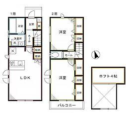 JR中央本線 吉祥寺駅 バス11分 南新川下車 徒歩1分の賃貸テラスハウス 2LDKの間取り